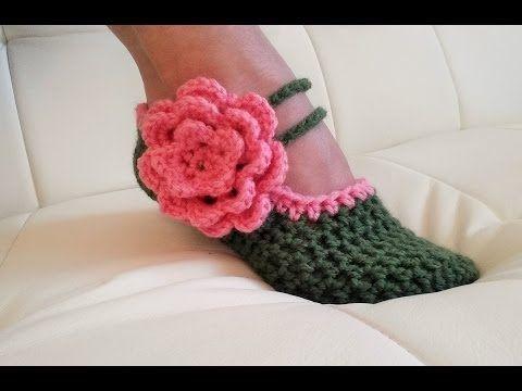 Learn To Crochet Glama's Fancy Mary Jane Slippers - YouTube