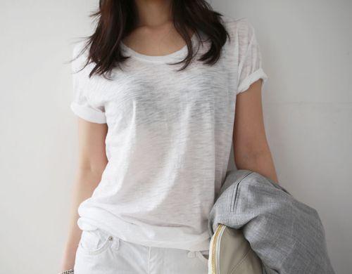 Semi-transparent white T-shirt