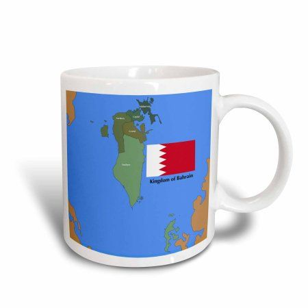 3dRose The flag and map of the Persian gulf country, Kingdom of Bahrain with all governing regions marked. , Ceramic Mug, 15-ounce