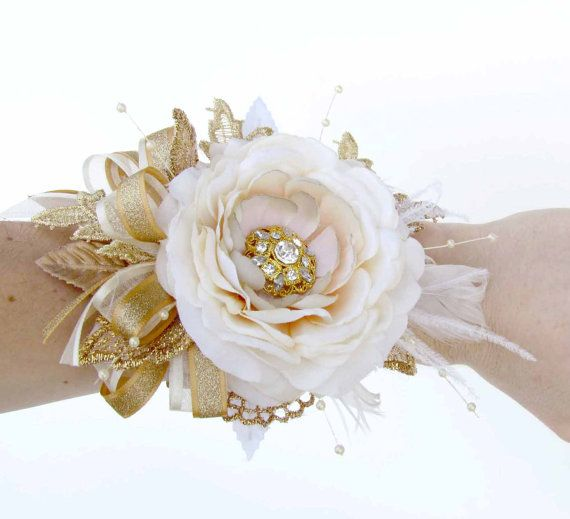Gold & Ivory Gatsby Corsage and Boutonniere with Gold by justanns