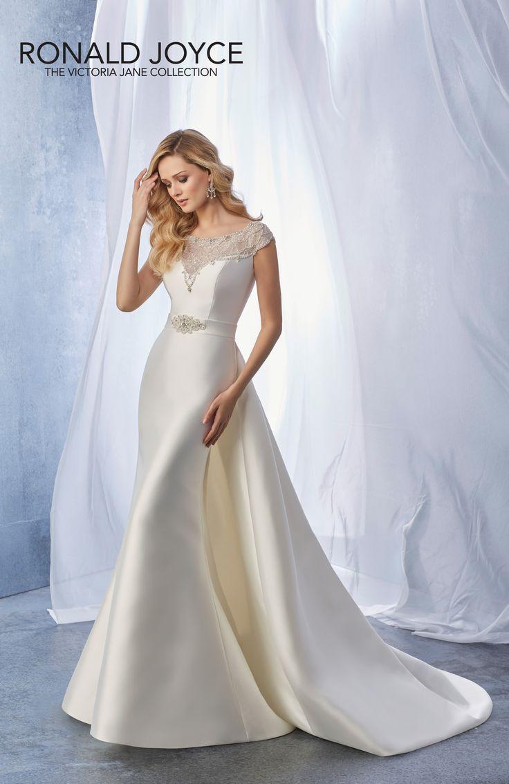 Cute Ronald Joyce Joanie Mikado Bridal Gown With Detachable Train Ivory