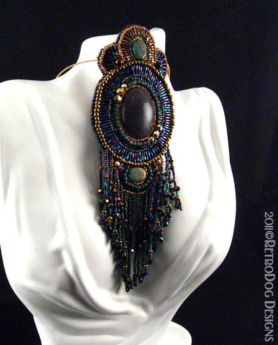 Bead embroidered statement necklace handmade