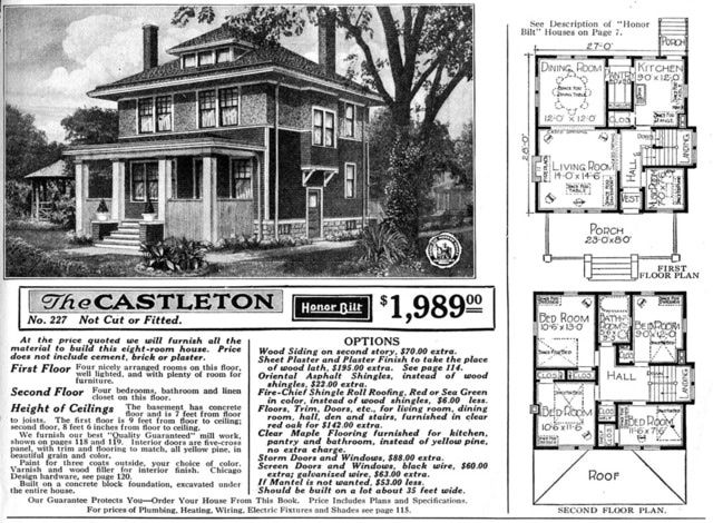 Foursquare House Plans - Is Your Old House From a Catalog?: Sears Catalog Modern Home No. C227, The Castleton