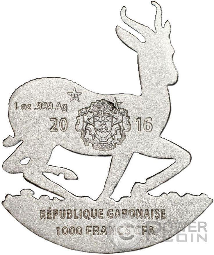AFRICAN SPRINGBOK Full Sculpture Icon 1 Oz Silver Coin 1000 Francs Gabon 2016