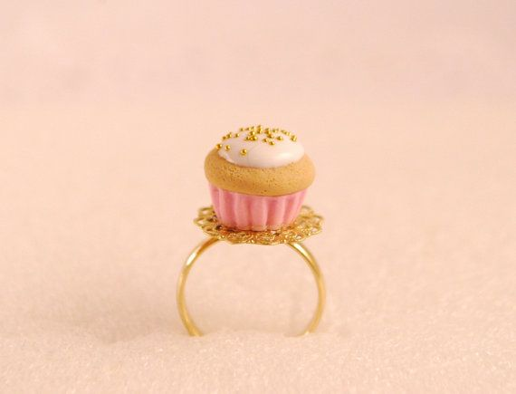 pink cupcake ring  food jewelry by SweetArtMiniatures on Etsy, $9.50