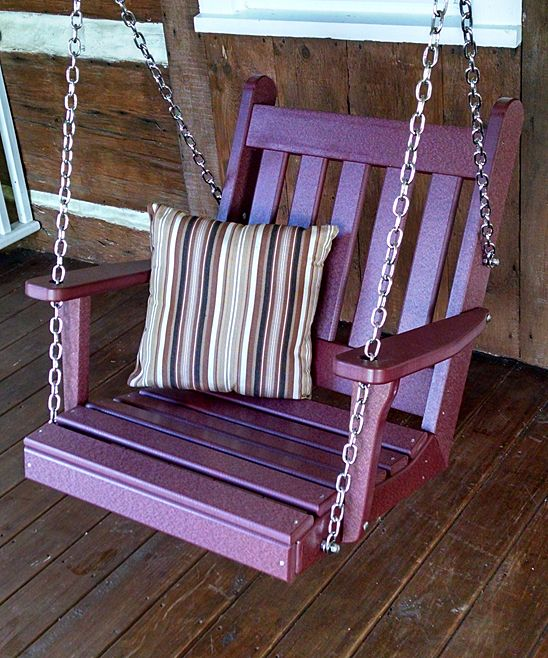 A&L Furniture Purple Traditional Chair Swing | Boasting a classic slat-style design and quality craftsmanship, this durable chair swing decks your patio with a sweet spot that lets you rest weightlessly as you read.