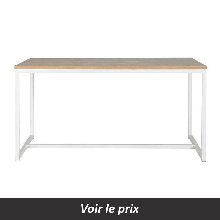 Table avec plateau bois et pied métal blanc