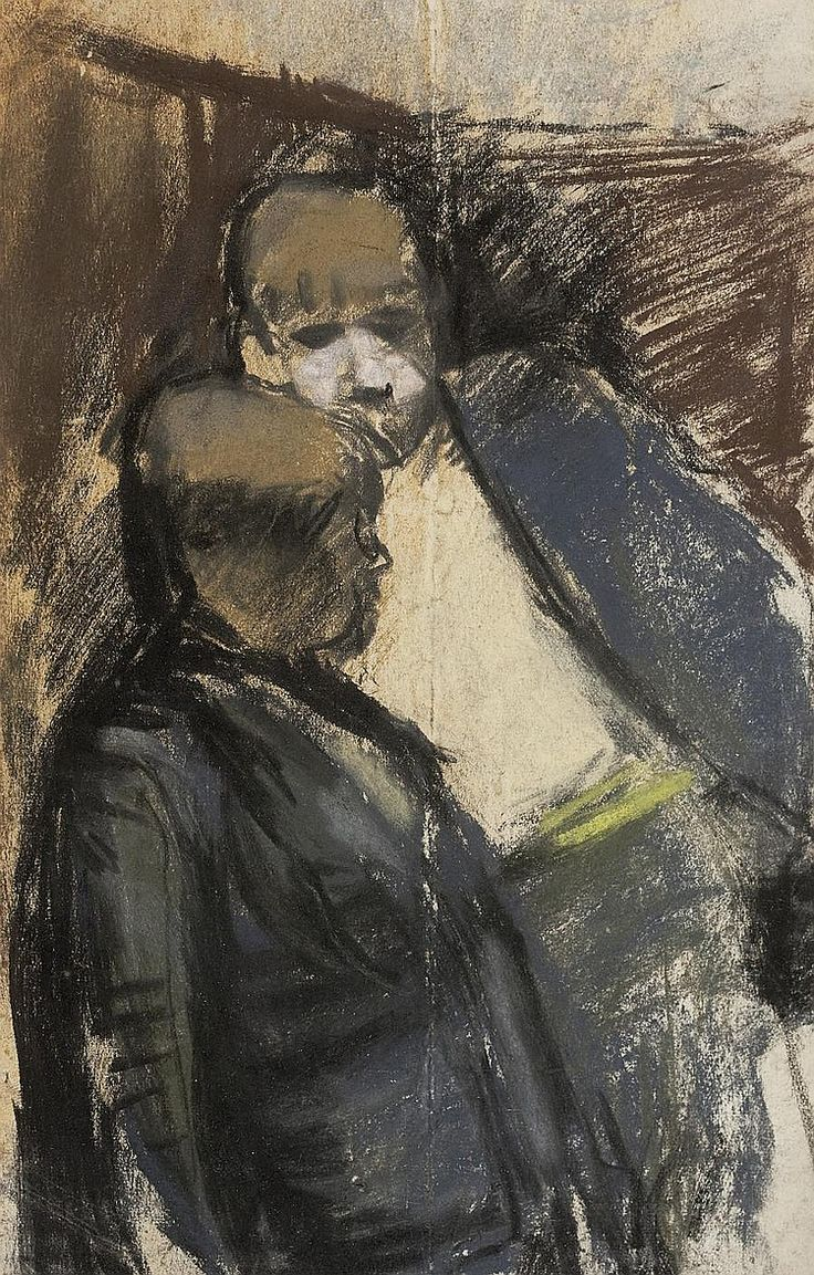 Joan Kathleen Harding Eardley - Two pals, pastel and charcoal, 22 x 14 cm.