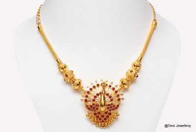 Light Weight Temple Jewellery with Peacock pendants - Latest Indian Jewellery Designs