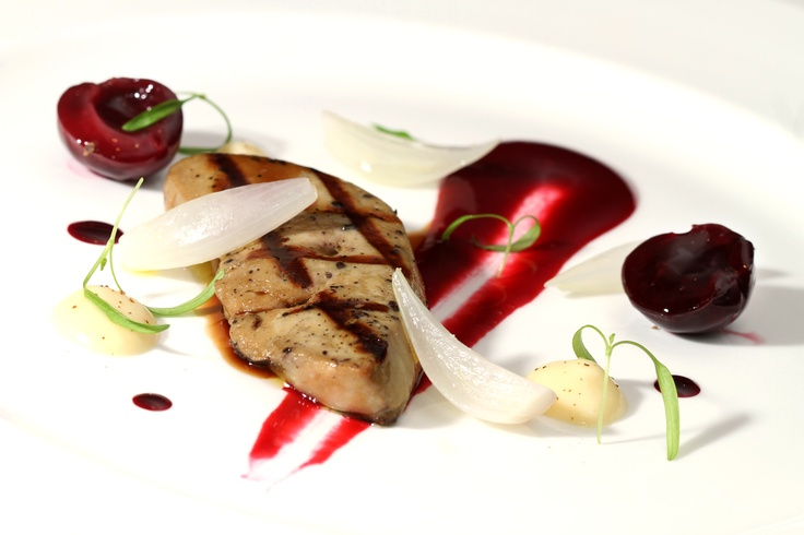 Grilled Foie Gras, Cherries, Cevennes Onion and Jamaican Pepper