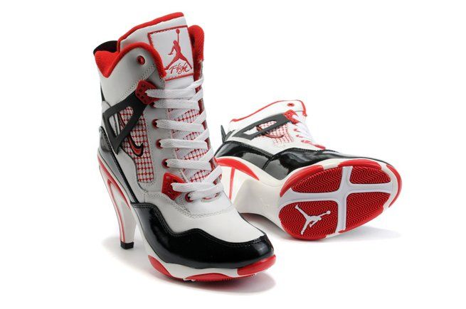Air Jordan 4 IV Womens Heels Ankle Boots White Black Red Outlet, cheap jordan high heels for women, michael jordan high heel shoes, jordan high hee\u2026