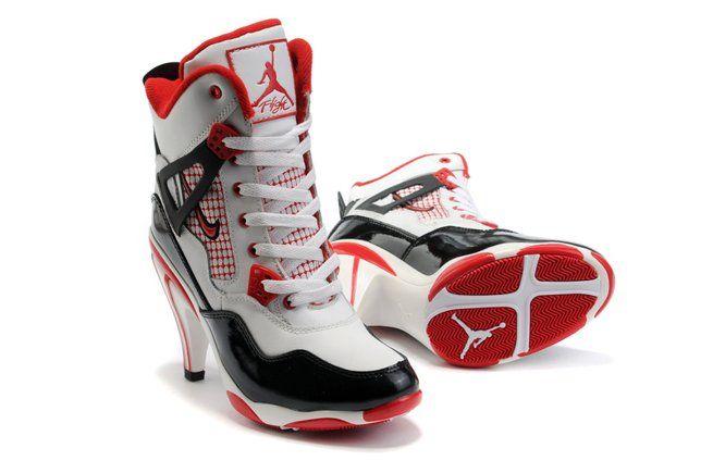 Air Jordan 4 IV Womens Heels Ankle Boots White Black Red Outlet, cheap jordan high heels for women, michael jordan high heel shoes, jordan high hee\u2026