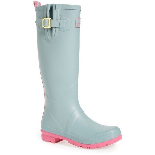 """Joules 'Field Welly' Rain Boot, 1 1/4"""" heel ($75) ❤ liked on Polyvore featuring shoes, boots, cool grey, knee-high boots, knee boots, grey rain boots, gray boots, knee high rubber boots and platform boots"""