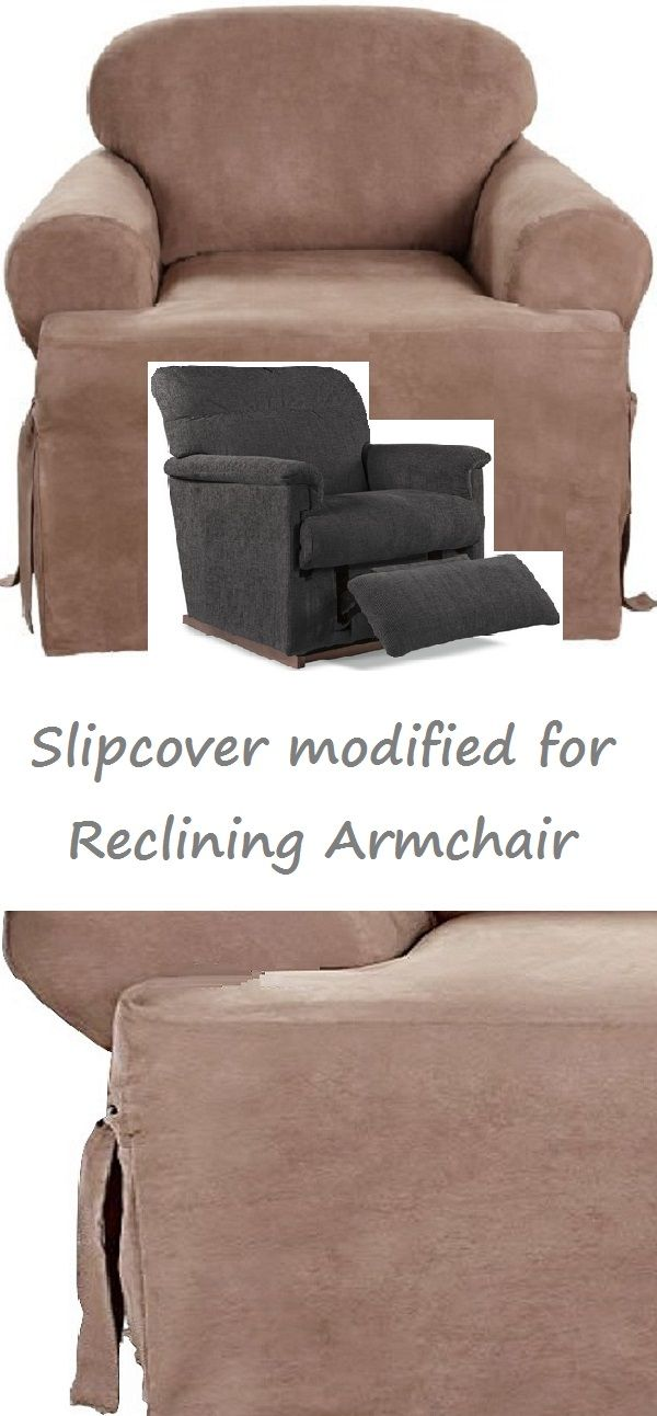 Reclining Chair Slipcover T Cushion Suede Taupe Adapted For Recliner Armchair