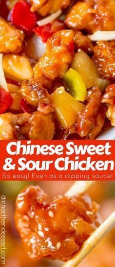 Sweet and Sour Chicken with crispy chicken, pineapple and bell peppers that tastes just like your favorite takeout place without the food coloring. #ChineseFoodRecipes