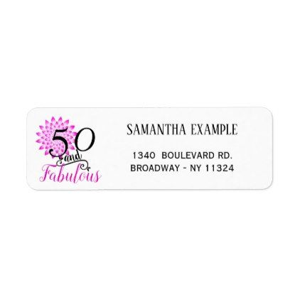 50 And Fabulous Pink 50th Birthday Return Address Label