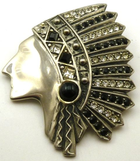 Butler & Wilson American Indian head brooch in white metal with black and white diamante - photograph by Gillian Horsup