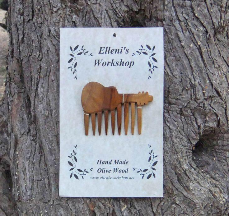 Guitar Hair Comb, Hand Carved From Greek Olive Wood by ellenisworkshop on Etsy