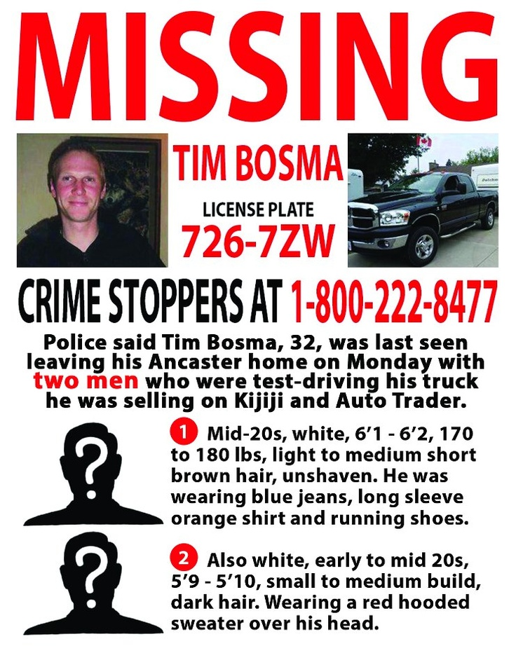 9 best Missing Tim Bosma Ancaster, Ontario, Canada images on ...