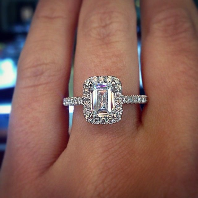 emerald cut halo engagement ring - Girl Wedding Rings