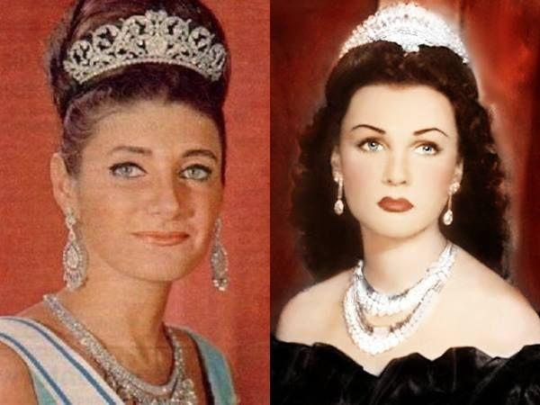 Shahnaz Pahlavi and mother Fawzia Fuad of Egypt-October 27, 1940 (age 76), Tehran, Iran