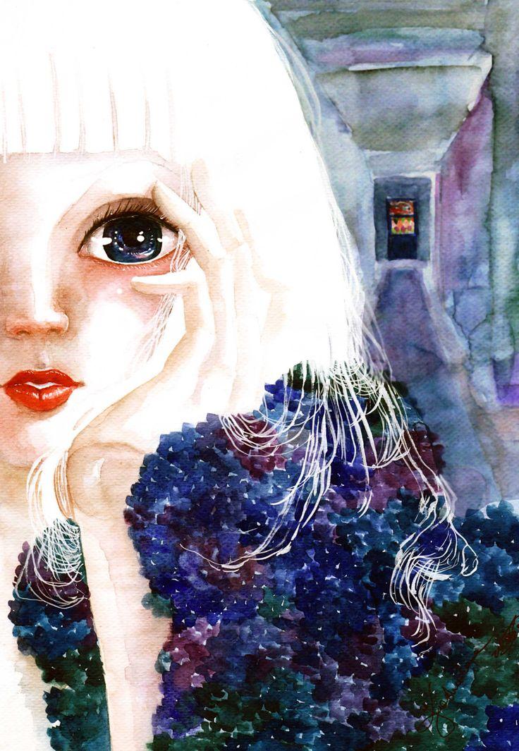 """""""Doll"""" inna rzeczywistość by Kashoka - watercolour painting"""