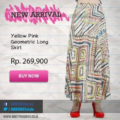 Wanna have perfect summer look? Get this Yellow Pink Geometric Long Skirt on: www.ninetydegrees.co.id