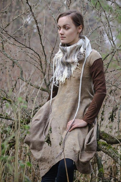 """Купить Бактус """"Лесные сны"""" ( войлок) - авторский войлок, бактус из войлока, шарф из войлока"""