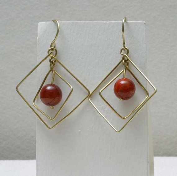 Double Square Wire Wrapped Brass and Fire Agate by BeccsCreations, $20.00