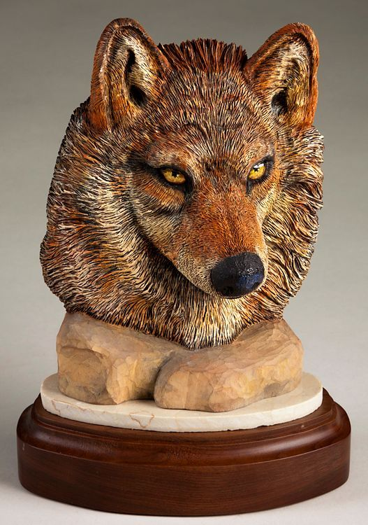wolf face sculpture daytoncarvers.com | Wolves | Wood ...