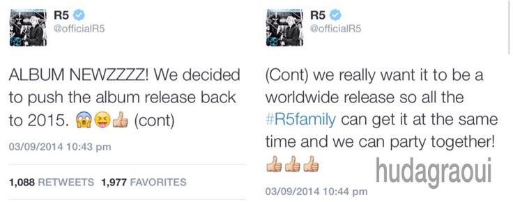 The reason why R5 are going to release the album in 2015 and not on September 30th, 2014. What are your thoughts on this?