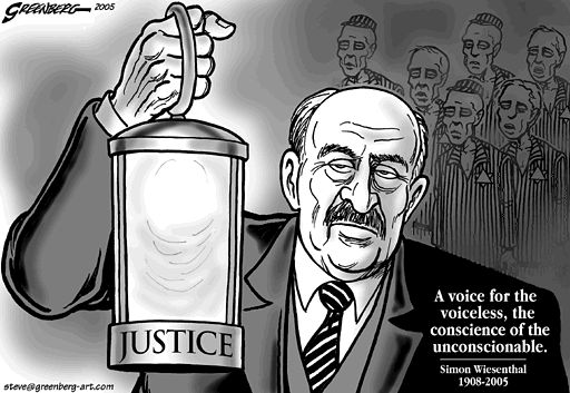 This is a cartoon of Simon Wiesenthal, one of the most remarkable Nazi hunters of all time. He devoted is life after liberation to the pursuit of justice.