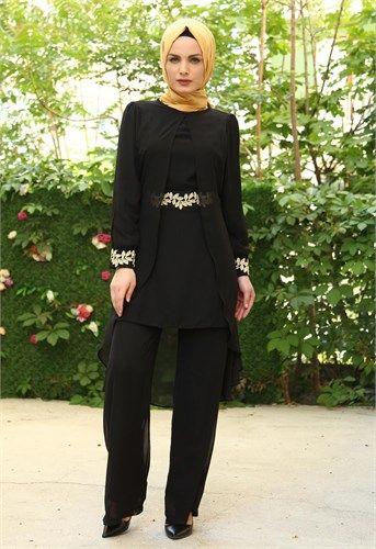 Ravza Şifon pantolonlu Tunik Siyah 4425
