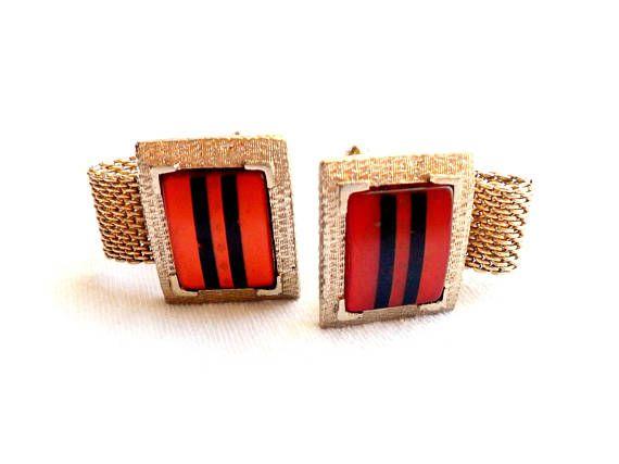 Vintage Hickok Cufflinks Striped Lucite Cuff Links Mesh Wrap