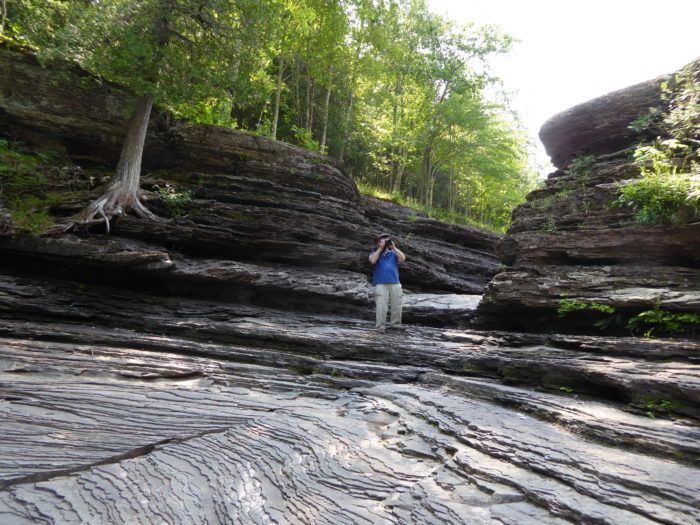 Marvel at naturally carved rock formations as you stroll through the forest.