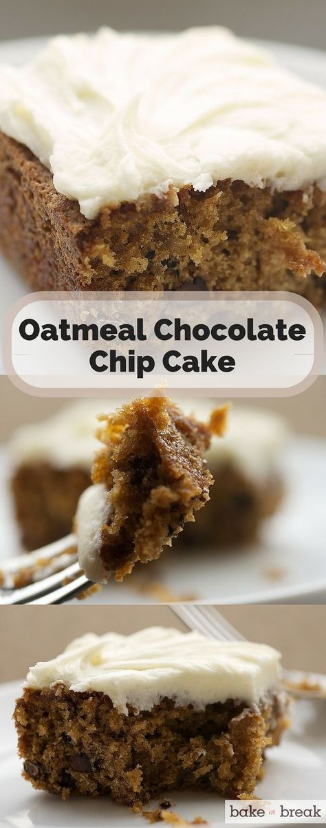 Oatmeal Chocolate Chip Cake  is like coffee cake for cookie lovers. The cake's texture is a bit more dense and sweet. Then, it's topped with rich cream cheese frosting.