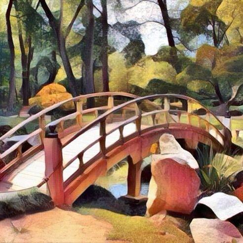 Bridge in Japanese Garden (Dadaism style). Puente en jardín japonés (estilo Dadaísmo). #garden #gardens #jardin #jardines #bridge #bridges #puente #puentes #japan #japanese #japon #japones #art #arts #arte #artes #paintwork #paintworks #painting #paintings #pintura #pinturas #picture #pictures #cuadro #cuadros #dadaismo #dadaism