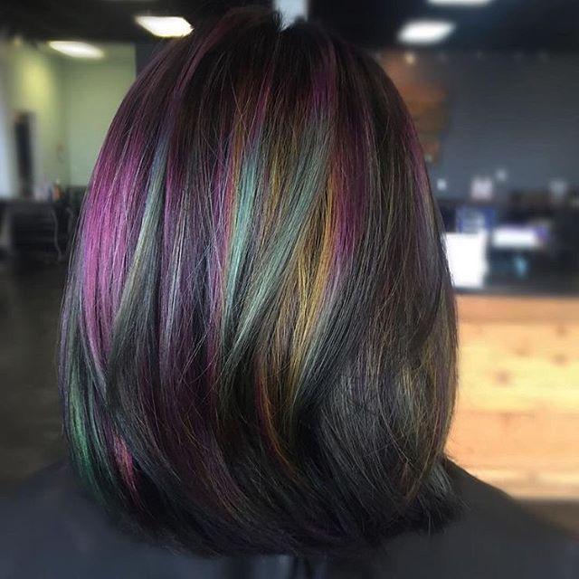 Oil slick hair color on straight hair
