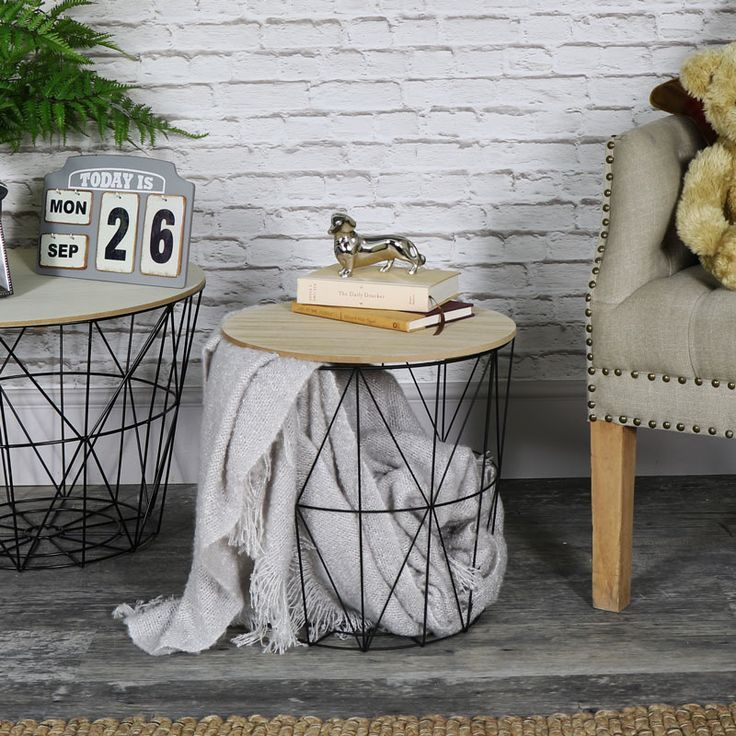 Black Metal Wire Basket Wooden Top Side Table Wire Baskets Side Table With Storage Side Table