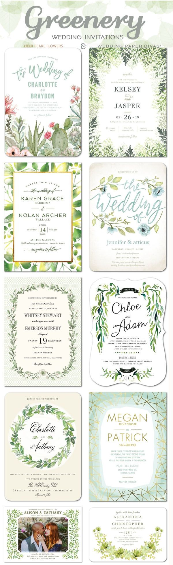 Green wedding color ideas - Greenery wedding invitations / http://www.deerpearlflowers.com/greenery-wedding-decor-ideas/3/