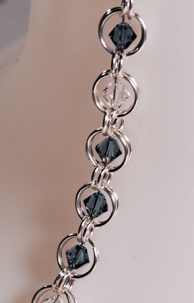 Chainmaille beaded bracelet, Denim Blue Swarkoski beads. $18.00, via Etsy.