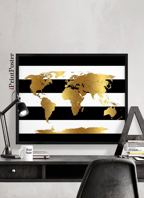 Great Gro e Weltkarte Karte Kunst Black And White Stripes Faux gold Weltkarte print Gold Weltkarte Travel Wanddekoration Home Dekor