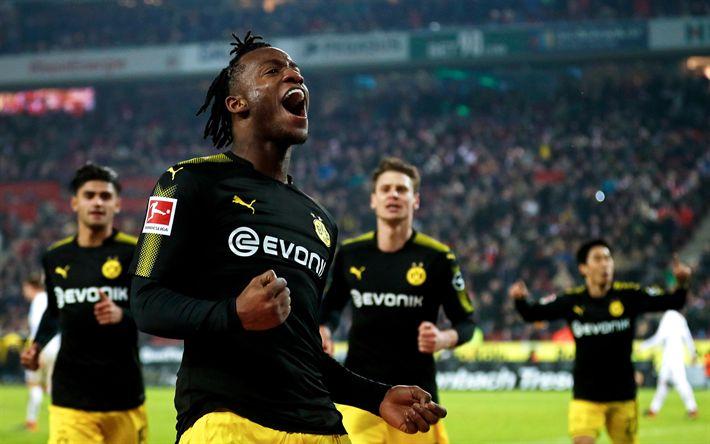 Download wallpapers Michy Batshuayi, 4k, BVB, goal, Borussia Dortmund, footballers, soccer, Bundesliga, Batshuayi