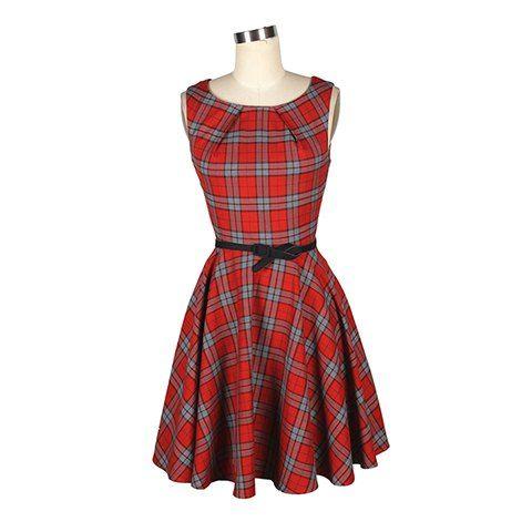 Vintage Round Collar Ruffled Checked Sleeveless Women's Tartan Dress With A Belt
