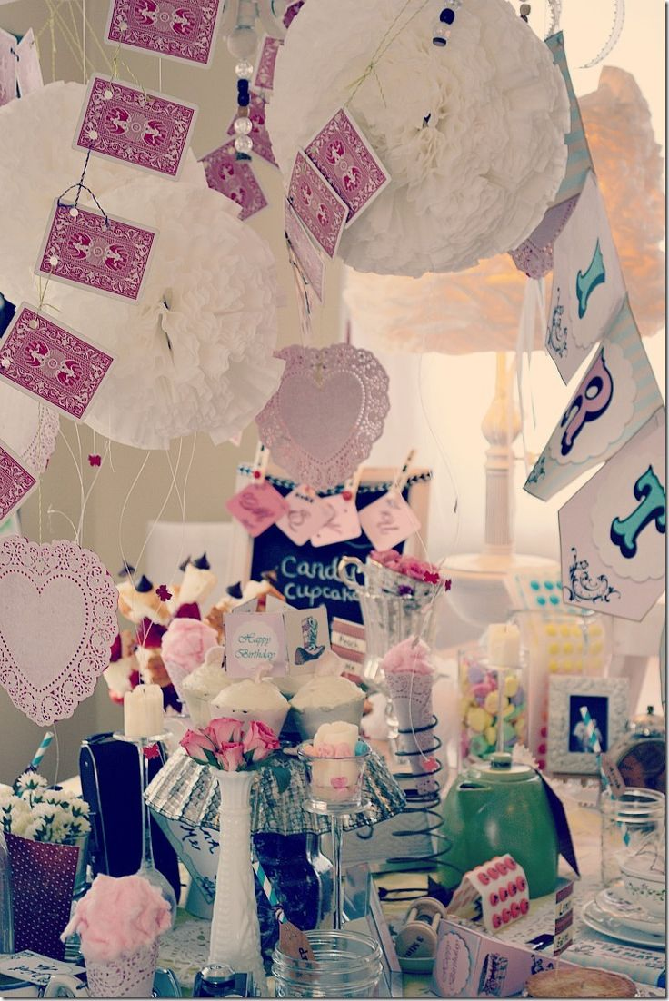 Alice in Wonderland tea party...vintage-style. Great ideas for decorations, food, and more using items from around your house!