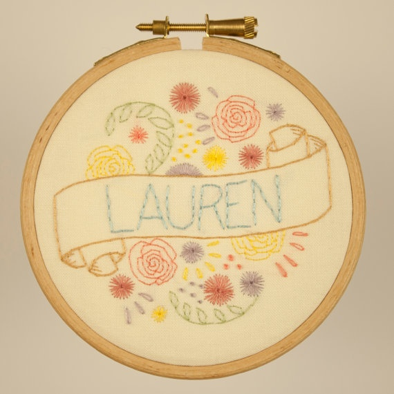 Hand embroidered flowers scroll and name