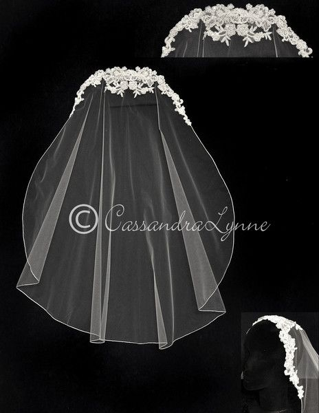 This lace wedding veil is styled after the popular juliet caps. Beaded alencon lace accents the top of the veil and the edge of the veil has is embroidered. The