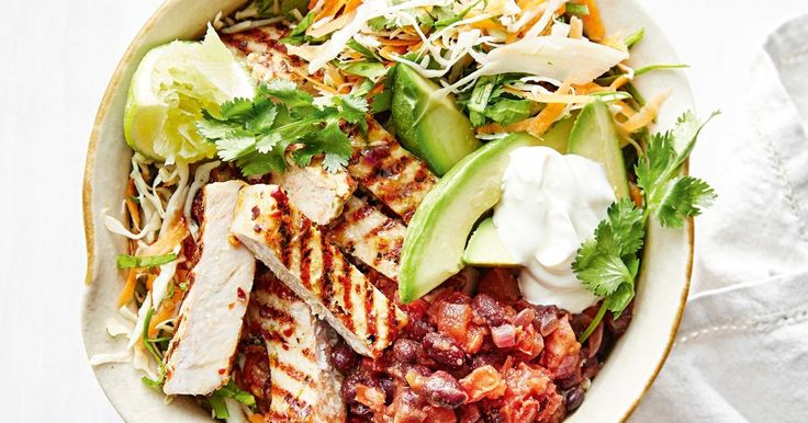 Pork and bean burrito bowl