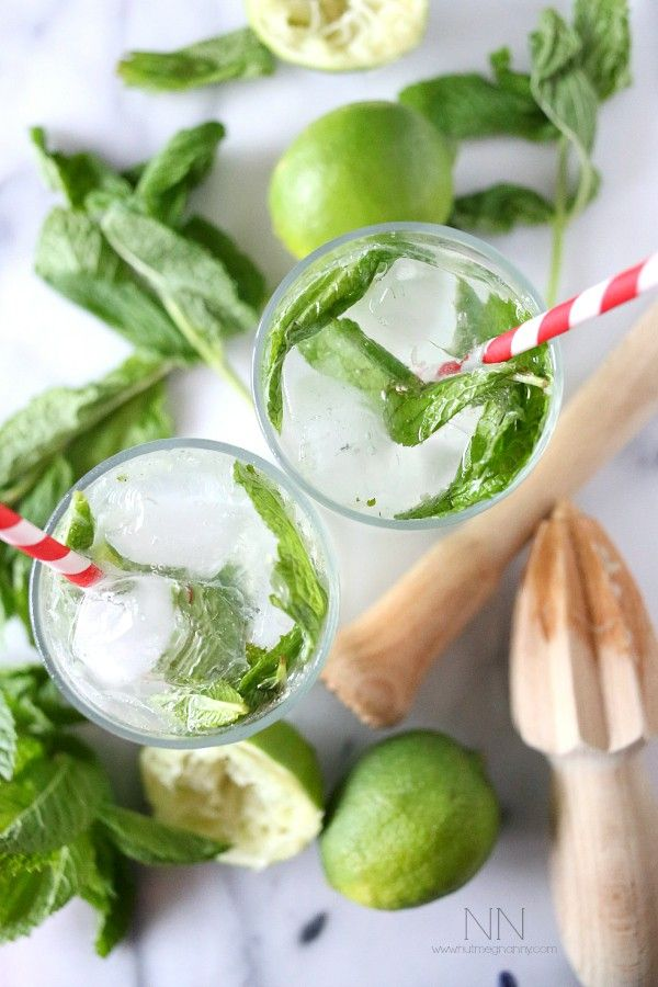 This coconut mojito is made with fresh mint, lime and coconut rum. It's the type of drink that makes you feel like you are on the beach while sipping away.