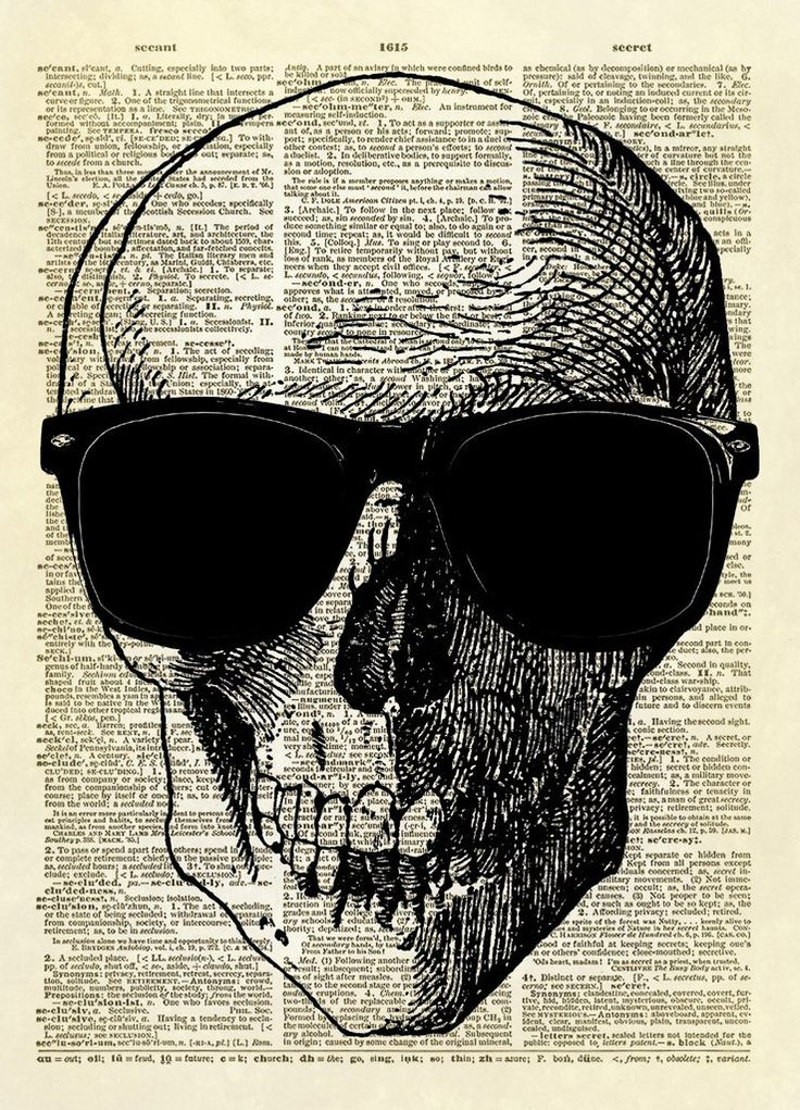 Human Skull with Sunglasses Dictionary Art Print ...